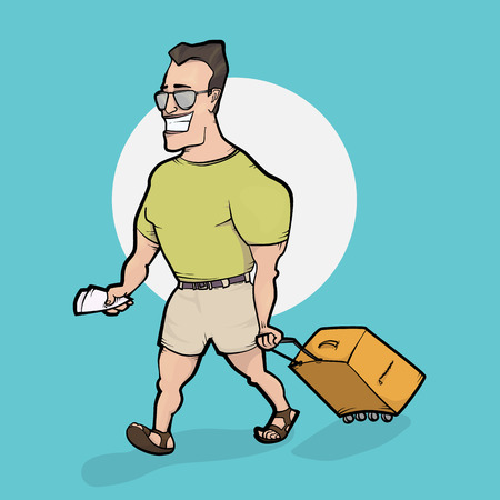 Travelling man goes with bag. Hand drawn illustration Illustration