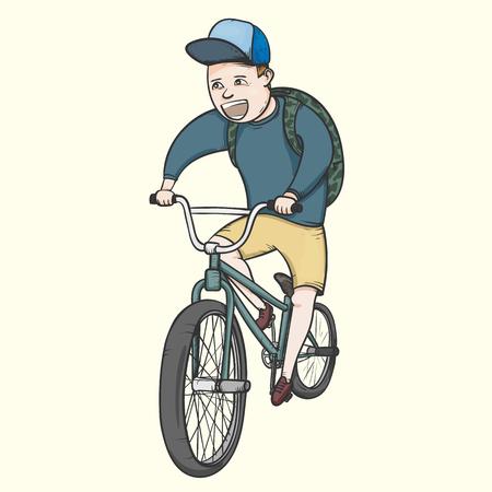 School boy riding bmx bycicle hand drawn vector illustration