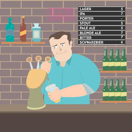 Bartender pouring beer flat style vector illustration