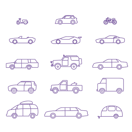 Car types outline icons vector set. 15 items