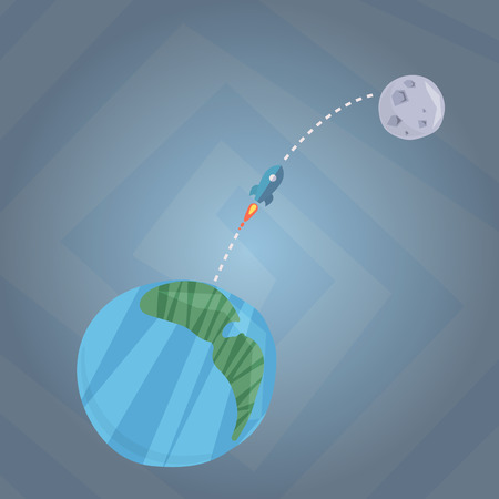 Travelling from Earth to Mars vector color illustration Ilustrace