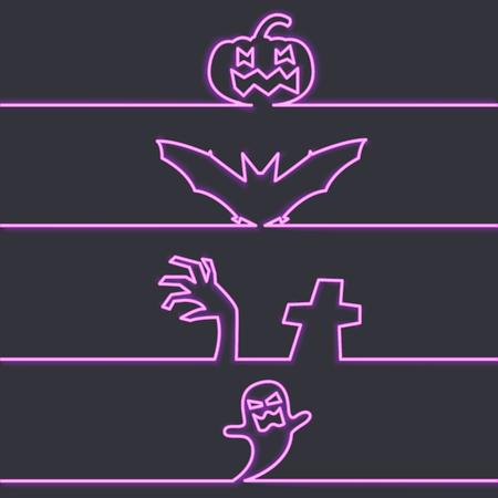 Halloween symbols in neon light, dark background vector illustration