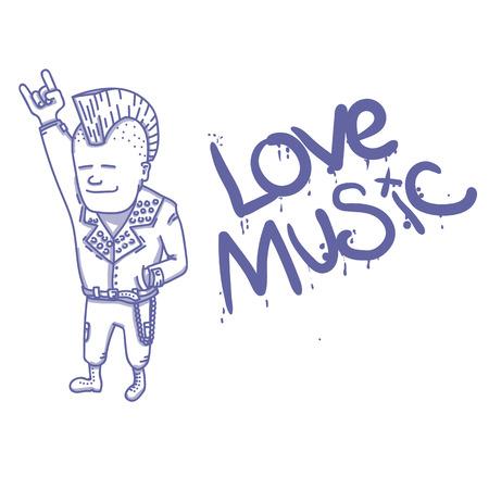 Punk rocker showing sign of the horns. EPS 10 vector illustration