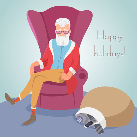 Hipster Santa sitting in a chair EPS10 vector illustration Ilustrace