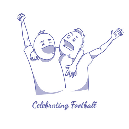 Sport fans celebrating victory. EPS10 vector illustration Ilustrace