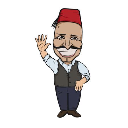 Turkish man waving hello Ilustrace