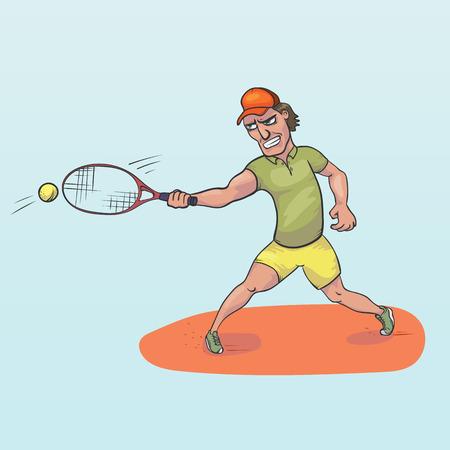 Tennis player striking a ball han drawn vector illustration Stock Photo