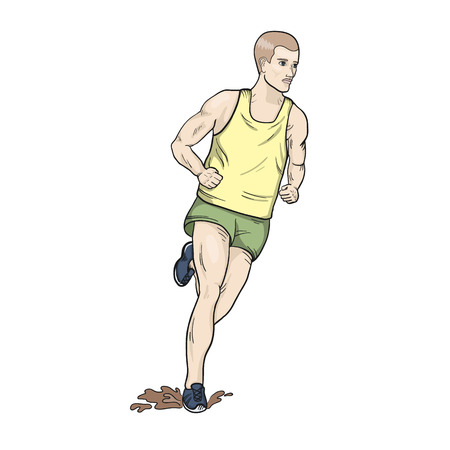 Cross country running hand drawn vector illustraion
