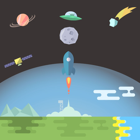 Rocket launch flat style vector illustration Ilustrace