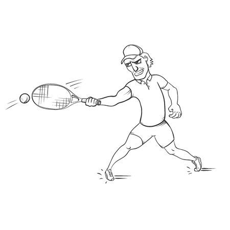 Tennis player striking a ball vector illustration