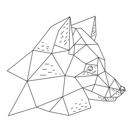 Triangular fox head hand drawn vector illustration