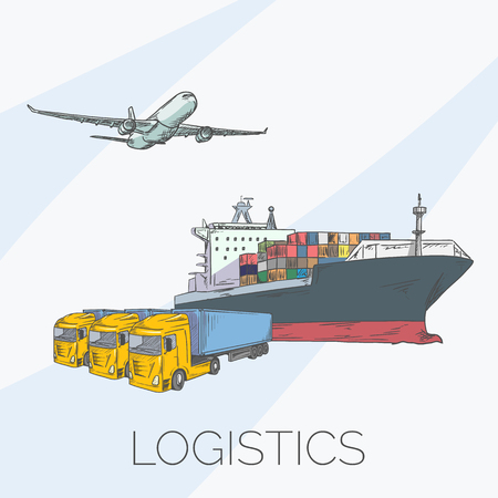 Logistics sign with plane, truck, container and ship