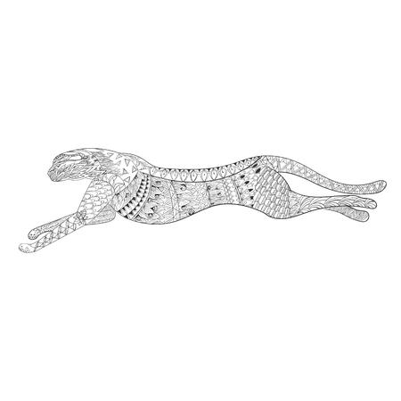 Patterned running cheetah illustration