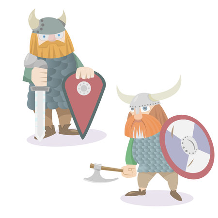 Two viking warriors characters vector flat style illustration Ilustrace