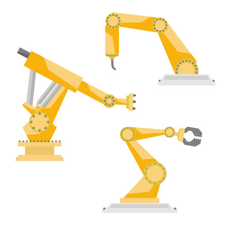 Industrial manufacturing robots vector flat style set