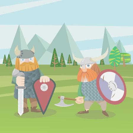 Two viking warriors vector flat style illustration