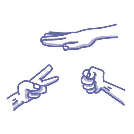 Paper, Scissors, Stone game illustration Ilustrace