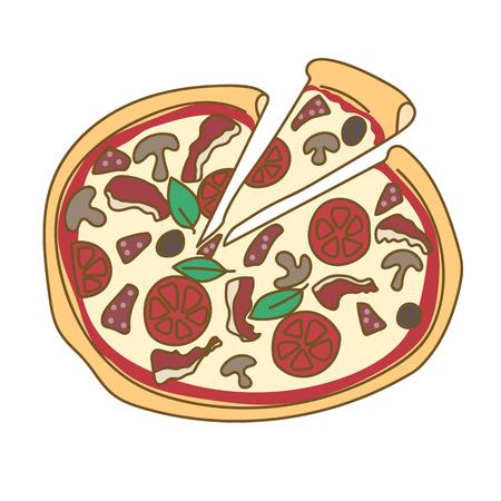 Pizza hand drawn doodle color illustration