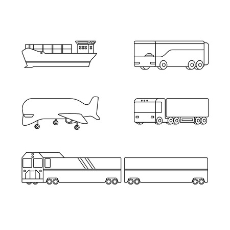 Logistics line icons vector set. Airplane, truck, train and ship