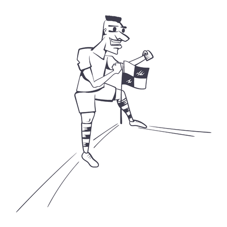 Football player celebrating goal achievement in a line illustration on white Ilustrace