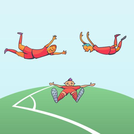 Football players celebrating goal