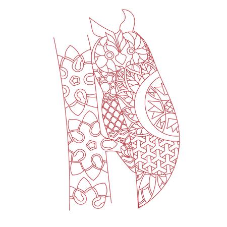 Patterned owl zentangle style. Good for T-shirt, bag or whatever print. EPS 10 vector illustration Ilustrace