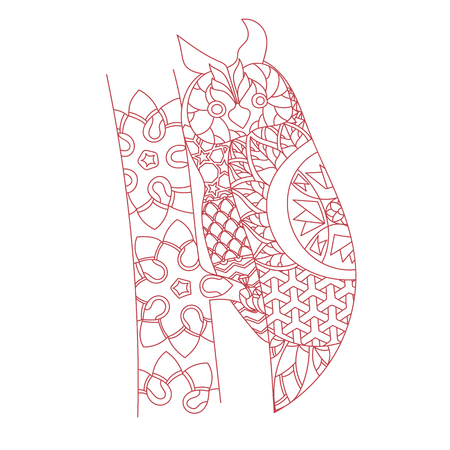 Patterned owl zentangle style. Good for T-shirt, bag or whatever print. EPS 10 vector illustration Illustration