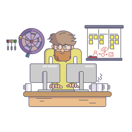 Software developer working behind the desk vector illustration