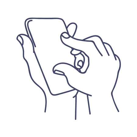 Zooming in smart phone screen illustration Illustration