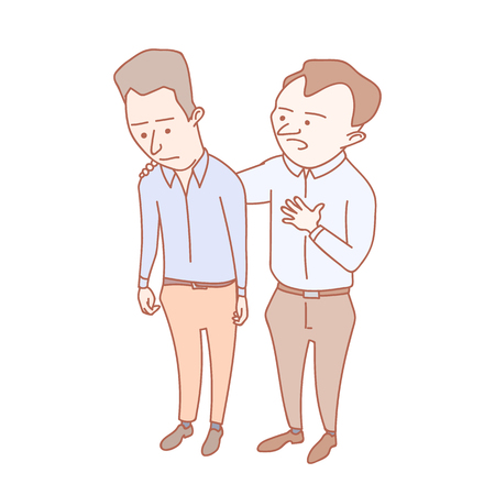 A man showing compassion to his colleague. Hand drawn illustration