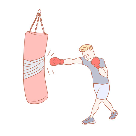 A man training boxing at the gym hand drawn illustration Ilustrace