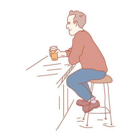 Pub vistor sitting with a pint of beer in his hand. Hand drawn style illustration Ilustrace