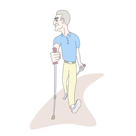 Senior man practicing nordic pole walking. Hand drawn style vector illustration