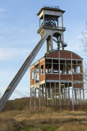 renovated: old renovated coal mine shaft Stock Photo