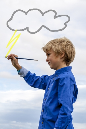 kids painting thunder cloud