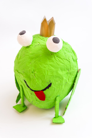 handcrafted frog, made with a balloon and Papier-mâché