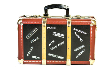retro suitcase with names of capital cities on it photo