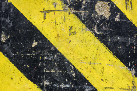 hazards: warning stripes on concrete yellow and black for Physical Hazards