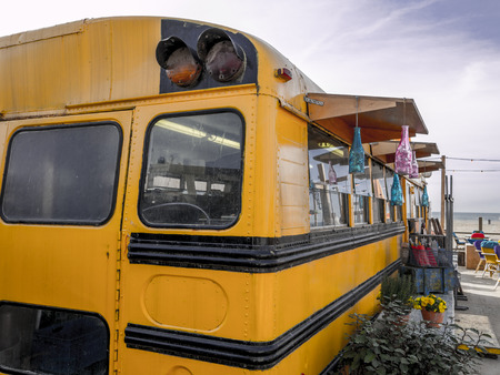 schoolbus: old american schoolbus turned into beach bar