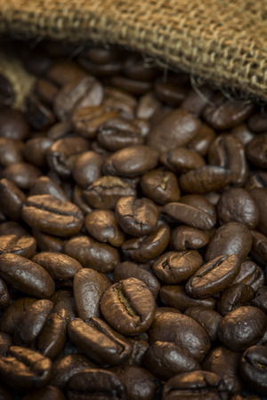 jute bag with coffee beans Stock Photo