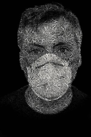 face with facemask full of text about pandemic. low key image.