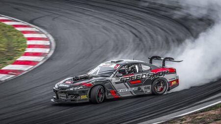 Oschersleben, Germania, 30 agosto 2019: Nicolas Maunoir alla guida della Nissan Silvia S15 durante il Drift Kings Europe Round 6 Germania alla Motorsport Arena.