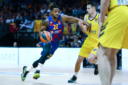 Berlin, Germany, March 04, 2020: Cory Higgins of FC Barcelona in action during the EuroLeague basketball match between Alba Berlin and FC Barcelona at Mercedes Benz Arena in Berlin, Germany.