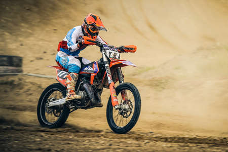 San Miguel, Spain, May 21, 2017: unknow motocross rider competes during the regional Motocross Tenerife championship Redactioneel