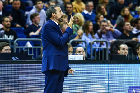 Berlin, Germany, October 04, 2019: Joan Plaza Head Coach of Zenit St Petersburg during the basketball game between Alba Berlin and Zenit St Petersburg at Mercedes Benz Arena in Berlin, Germany.