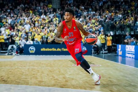 21 Berlin, Germany, October 25, 2019: Will Clyburn of CSKA Moscow in action during the EuroLeague basketball game between Alba Berlin and CSKA Moscow at Mercedes Benz Arena in Berlin, Germany.