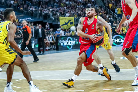 Berlin, Germany, October 25, 2019: basketball player Mike James in action during the EuroLeague basketball match Alba Berlin vs CSKA Moscow at Mercedes Benz Arena
