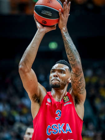 Berlin, Germany, October 25, 2019: basketball player Joel Bolomboy during the EuroLeague basketball game Alba Berlin vs CSKA Moscow at Mercedes Benz Arena in Berlin, Germany.