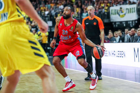 Berlin, Germany, October 25, 2019: Darrun Hilliard of CSKA Moscow in action during the EuroLeague basketball match between Alba Berlin and CSKA Moscow at Mercedes Benz Arena in Berlin