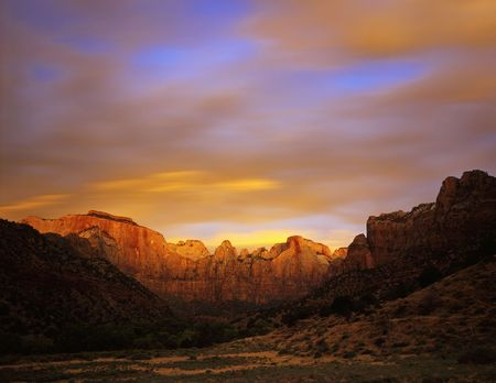 Towers of the Virgin in Zion National Park, Utah. Reklamní fotografie